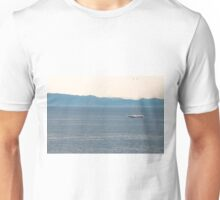 Seagulls fly above ship Unisex T-Shirt