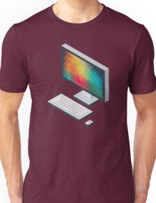 Isometric icon monitor keyboard and mouse Unisex T-Shirt