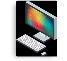 Isometric icon monitor keyboard and mouse Canvas Print