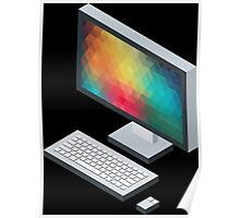 Isometric icon monitor keyboard and mouse Poster