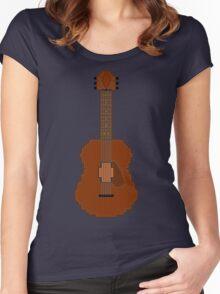 Acoustic Guitar Pixel Art Women's Fitted Scoop T-Shirt
