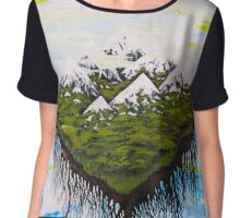 Home, The Floating Land Mass in Space Chiffon Top