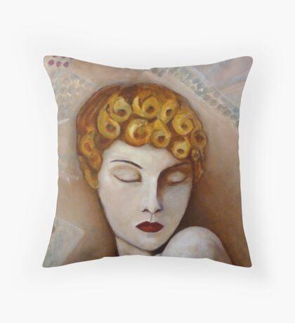 Girls Curls Throw Pillow