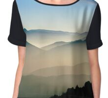 Aerial view of colorful autumnal mountains, foggy sunset, Vosges, Alsace, France Chiffon Top