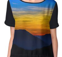 Idyllic sunset landscape with silhouettes of mountains and vivid colors, Vosges, Alsace, France Chiffon Top