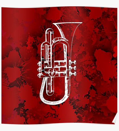 Trumpet over red stains Poster