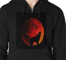 Wolf Howling in the dark for animal lovers Zipped Hoodie