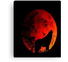 Wolf Howling in the dark for animal lovers Canvas Print