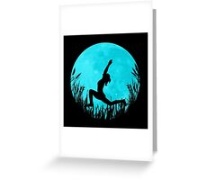 Yoga Moon Posture - Turquoise Greeting Card