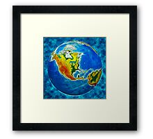 globe, in a center north America Framed Print