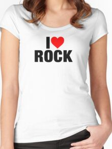 I Love Rock Music Women's Fitted Scoop T-Shirt