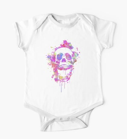 Cool & Trendy Pink Watercolor Skull Kids Clothes