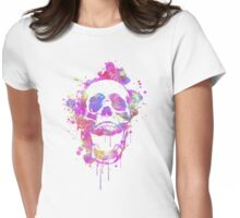 Cool & Trendy Pink Watercolor Skull Womens Fitted T-Shirt