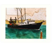 SUSAN NICOLE Oregon Fishing Boat Cathy Peek Nautical Chart Map Art Print