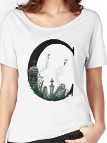 C is for Cemetery Watercolor Painting Women's Relaxed Fit T-Shirt