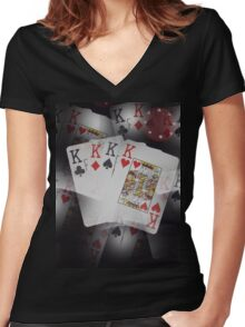 Quad Kings Poker Cards On Layer Pattern. Women's Fitted V-Neck T-Shirt