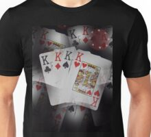 Quad Kings Poker Cards On Layer Pattern. Unisex T-Shirt