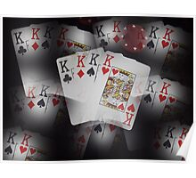 Quad Kings Poker Cards On Layer Pattern. Poster