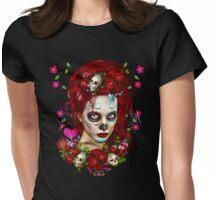 Sugar Doll Red Dia De Muertos Womens Fitted T-Shirt