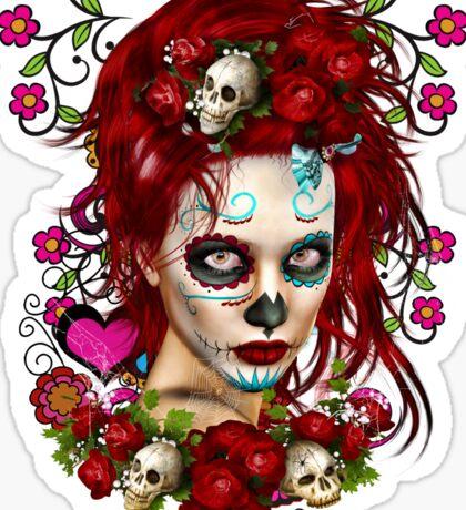 Sugar Doll Red Dia De Muertos Sticker