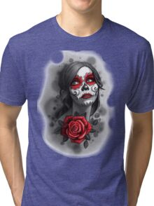 Day of the Dead Girl Red Makeup and Rose Pencil Sketch Tri-blend T-Shirt