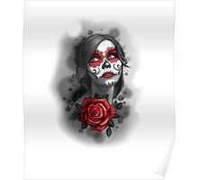 Day of the Dead Girl Red Makeup and Rose Pencil Sketch Poster