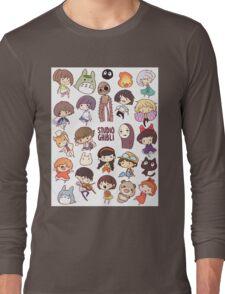 Hayao Miyazaki - Studio Ghibli - Chibi Characters Long Sleeve T-Shirt