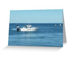 A large boat on its way out to sea for some fishing- Werribee Sth. Greeting Card
