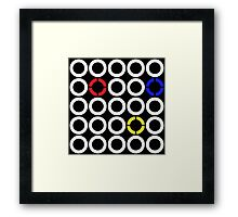 White and Primary Color Rings Framed Print