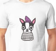Boston Terrier in a Striped Shirt Unisex T-Shirt
