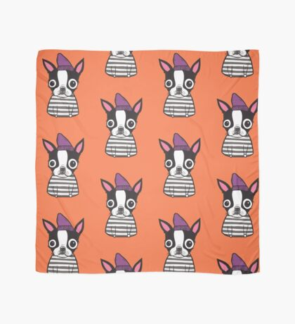 Boston Terrier in a Striped Shirt Scarf