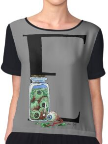 E is for Eyeballs Watercolor Painting Chiffon Top