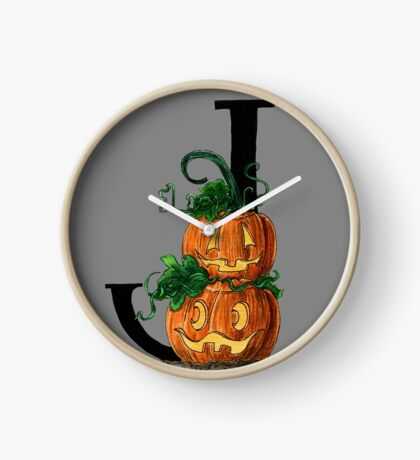 J for Jack-o-lantern Watercolor Painting Clock