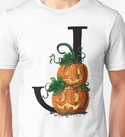J for Jack-o-lantern Watercolor Painting Unisex T-Shirt