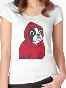 Boston Terrier in a Red Hoodie Women's Fitted Scoop T-Shirt