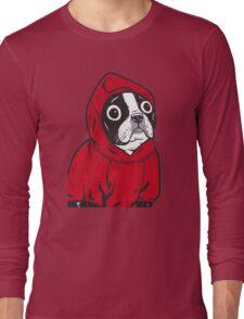 Boston Terrier in a Red Hoodie Long Sleeve T-Shirt