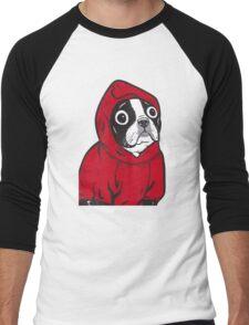 Boston Terrier in a Red Hoodie Men's Baseball ¾ T-Shirt