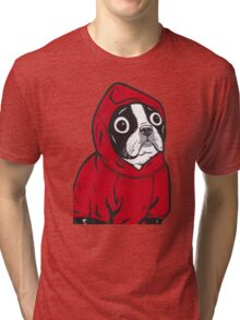 Boston Terrier in a Red Hoodie Tri-blend T-Shirt