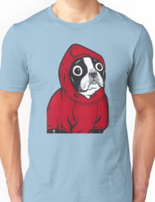 Boston Terrier in a Red Hoodie Unisex T-Shirt