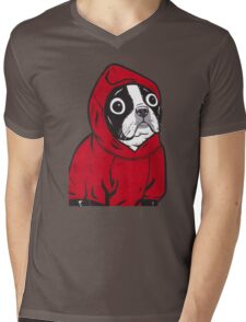 Boston Terrier in a Red Hoodie Mens V-Neck T-Shirt
