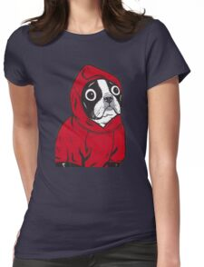 Boston Terrier in a Red Hoodie Womens Fitted T-Shirt