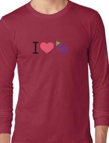 I Love Eggplant - by EmojiDaddy Long Sleeve T-Shirt
