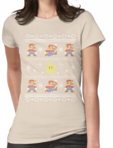 Mario Christmas Sweater Womens Fitted T-Shirt