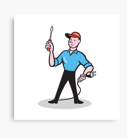 Electrician Holding Screwdriver Plug Cartoon Canvas Print