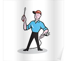 Electrician Holding Screwdriver Plug Cartoon Poster