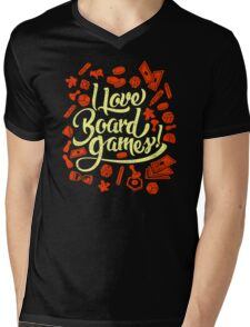 I Love Board Games Mens V-Neck T-Shirt