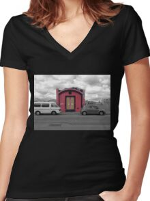 The Doors of a Desolate Home Women's Fitted V-Neck T-Shirt