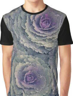 Purple and Green Ornamental Kale Plant Graphic T-Shirt