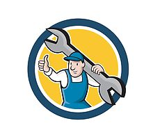 Mechanic Thumbs Up Spanner Circle Cartoon by patrimonio