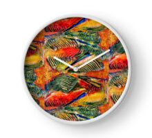 ABSTRACT WAVES RED AND GREEN Clock